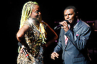 """New York, United States. 23th March 2014 - Singer Lucrecia Pérez Sáez and Salsa singer Jose Alberto """"El Canario"""" perform during a special concert to commemorate the life and legacy of Celia Cruz at the Apollo theater in Harlem, New York. Photo by Eduardo Munoz Alvarez/VIEW"""