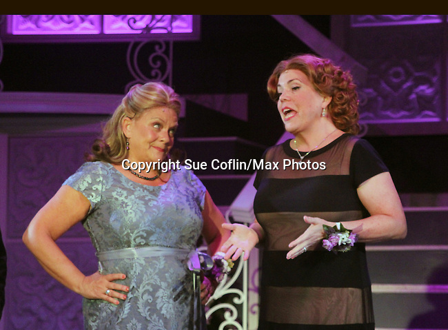 """Guiding Light's Kim Zimmer stars with All My Children's Jane Brockman in """"It Shoulda Been You"""" - a new musical comedy - at the Gretna Theatre on July 30, 2016. Both Jane and Kim starred separate companies of the national tour of Wicked. (Photo by Sue Coflin/Max Photos)"""