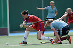 Mannheim, Germany, April 26: During the 1. Bundesliga Damen match between Mannheimer HC (red) and Uhlenhorster HC (light blue) on April 26, 2015 at Mannheimer HC in Mannheim, Germany. Final score 1-2 (0-2). (Photo by Dirk Markgraf / www.265-images.com) *** Local caption *** Maxi Pohl #6 of Mannheimer HC, Roda Mueller-Wieland #14 of Uhlenhorster HC