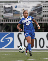 Boston Breakers defender Maddy Evans (18) flicks a pass. In a National Women's Soccer League Elite (NWSL) match, Sky Blue FC (white) defeated the Boston Breakers (blue), 3-2, at Dilboy Stadium on June 16, 2013.