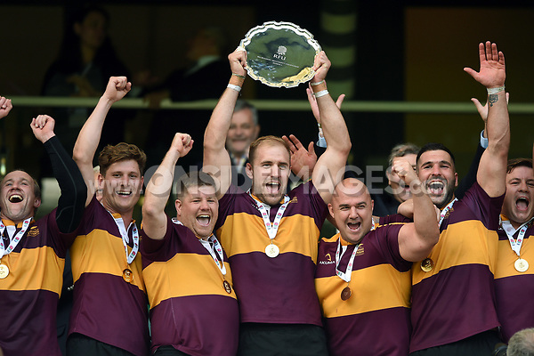 The Leicestershire team celebrate victory. Bill Beaumont County Championship Division 2 Final between Surrey and Leicestershire on June 8, 2019 at Twickenham Stadium in London, England. Photo by: Patrick Khachfe / Onside Images