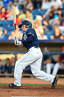 Lake County Captains outfielder Clint Frazier (20) at bat during a game against the Dayton Dragons on June 7, 2014 at Classic Park in Eastlake, Ohio.  Lake County defeated Dayton 4-3.  (Mike Janes/Four Seam Images)