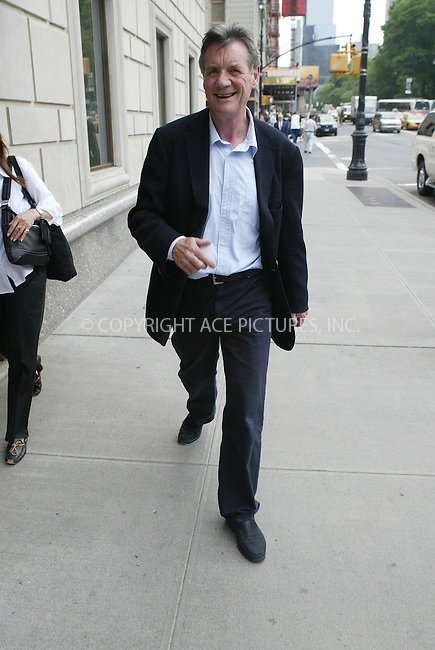 WWW.ACEPIXS.COM ** ** **EXCLUSIVE!!! FEE MUST BE NEGOTIATED BEFORE USE!!!***....NEW YORK, NEW YORK, JUNE 6TH 2005....Michael Palin heading to his midtown hotel....Please byline: Philip Vaughan -- ACE PICTURES... *** ***  ..Ace Pictures, Inc:  ..Craig Ashby (212) 243-8787..e-mail: picturedesk@acepixs.com..web: http://www.acepixs.com