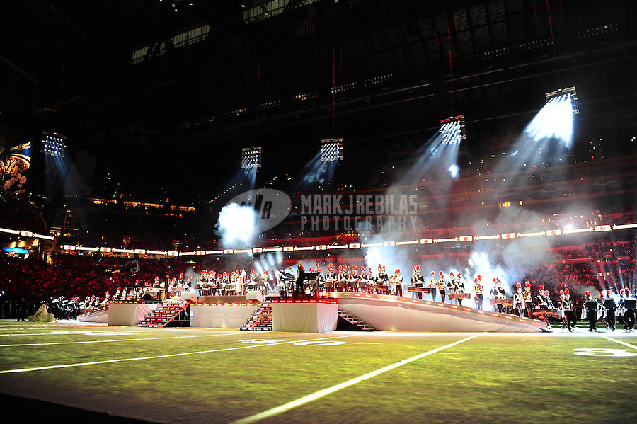 Feb 5, 2012; Indianapolis, IN, USA; General view of inside Lucas Oil Stadium as recording artist Madonna performs during the halftime show for Super Bowl XLVI between the New York Giants and New England Patriots.  Mandatory Credit: Mark J. Rebilas-