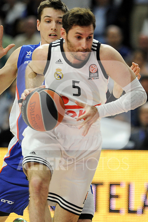 Real Madrid´s Rudy Fernandez during 2014-15 Euroleague Basketball Playoffs match between Real Madrid and Anadolu Efes at Palacio de los Deportes stadium in Madrid, Spain. April 15, 2015. (ALTERPHOTOS/Luis Fernandez)