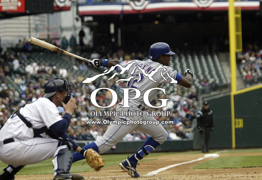 10 April 2005:  Texas Rangers second basemen Alfonso Soriano hits a line drive against the Seattle Mariners at Safeco field in Seattle, WA.
