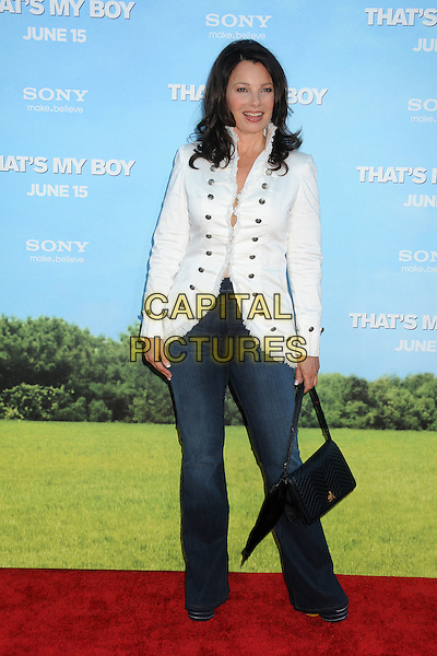 "Fran Drescher.""That's My Boy"" Los Angeles Premiere held at the Regency Village Theatre, Westwood, California, USA..June 4th, 2012.full length white jacket jeans denim  bag purse black .CAP/ADM/BP.©Byron Purvis/AdMedia/Capital Pictures."