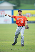 Ford Stainback (6) of the Greeneville Astros warms up in the outfield prior to the game against the Kingsport Mets at Hunter Wright Stadium on July 7, 2015 in Kingsport, Tennessee.  The Mets defeated the Astros 6-4. (Brian Westerholt/Four Seam Images)