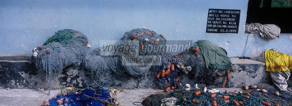 Afrique/Afrique de l'Est/Tanzanie/Zanzibar/Ile Unguja/Kizimkazi: le village de pécheurs détail filets de pèche