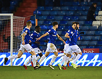 Oldham Athletic's Mohamed Maouche, right, celebrates scoring the opening goal with team-mates<br /> <br /> Photographer Andrew Vaughan/CameraSport<br /> <br /> The EFL Sky Bet League Two - Oldham Athletic v Lincoln City - Tuesday 27th November 2018 - Boundary Park - Oldham<br /> <br /> World Copyright © 2018 CameraSport. All rights reserved. 43 Linden Ave. Countesthorpe. Leicester. England. LE8 5PG - Tel: +44 (0) 116 277 4147 - admin@camerasport.com - www.camerasport.com