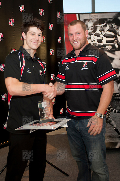 Under 16 Player of the Year Blake Ashby with Steelers Mark Price. Counties Manukau Representative Teams prize givung held at Bayer Growers Stadium on Thursday October 28th 2010.