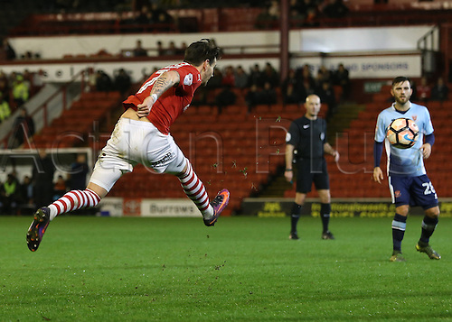 17th January 2017, Oakwell, Barnsley, South Yorkshire, England; FA Cup 3rd round replay, Barnsley versus Blackpool; Barnsley's Adam Hammill in full flight as he attempts a shot on goal