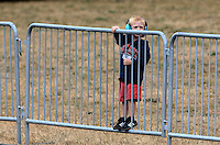 Aug. 3, 2013; Kent, WA, USA: A young NHRA fan looks on during qualifying for the Northwest Nationals at Pacific Raceways. Mandatory Credit: Mark J. Rebilas-USA TODAY Sports