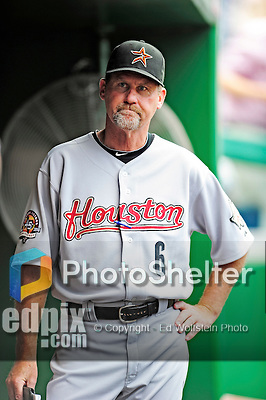 23 September 2010: Houston Astros Bullpen Coach Jamie Quirk stands in the dugout prior to a game against the Washington Nationals at Nationals Park in Washington, DC. The Nationals defeated the Astros 7-2 for their third consecutive win, taking the series three games to one. Mandatory Credit: Ed Wolfstein Photo