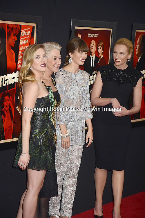 """Scarlett Johansson, Helen Mirren, Jessica Biel and Toni Collette attend the New York Premiere of """"Hitchcock"""" on November 18, 2012 at the Ziegfeld Theatre in New York City. The movie stars Anthony Hopkins, Helen Mirren,.Scarlett Johansson, Jessica Biel, Toni Collette, Danny Hutson, Michael Stuhlbarg and James D'Arcy."""