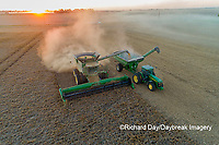 63801-13310 Harvesting soybeans and unloading into grain cart in fall-aerial  Marion Co. IL