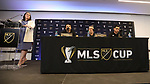 MARIETTA, GA - DECEMBER 06: (From left): MLS communications director Lauren Hayes and Atlanta United FC's Michael Parkhurst, head coach Gerardo Tata Martino, and Justin Veldhuis. The MLS Cup 2018 Team Press Conferences were held on December 6, 2018 at the Children's Healthcare of Atlanta Training Ground in Marietta, GA.