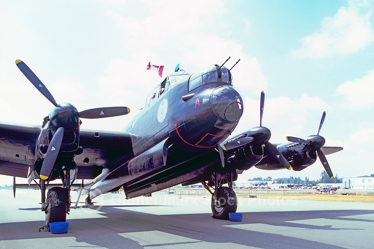 "Avro Lancaster Bomber (aka the ""Lanc"" and the ""Dam Buster"") on Static Display - at Abbotsford International Airshow, BC, British Columbia, Canada"