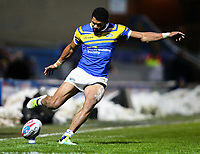 Leeds Rhinos' Kallum Watkins kicks at goal<br /> <br /> Photographer Alex Dodd/CameraSport<br /> <br /> Betfred Super League Round 5 - Leeds Rhinos v Hull FC - Thursday 8th March 2018 - Headingley Carnegie Stadium - Leeds<br /> <br /> World Copyright &copy; 2018 CameraSport. All rights reserved. 43 Linden Ave. Countesthorpe. Leicester. England. LE8 5PG - Tel: +44 (0) 116 277 4147 - admin@camerasport.com - www.camerasport.com