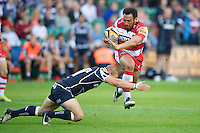 20120803 Copyright onEdition 2012©.Free for editorial use image, please credit: onEdition.Huia Edmonds of Gloucester Rugby is tackled by Tom Cruse of Sale Sharks at The Recreation Ground, Bath in the Final round of The J.P. Morgan Asset Management Premiership Rugby 7s Series...The J.P. Morgan Asset Management Premiership Rugby 7s Series kicked off again for the third season on Friday 13th July at The Stoop, Twickenham with Pool B being played at Edgeley Park, Stockport on Friday, 20th July, Pool C at Kingsholm Gloucester on Thursday, 26th July and the Final being played at The Recreation Ground, Bath on Friday 3rd August. The innovative tournament, which involves all 12 Premiership Rugby clubs, offers a fantastic platform for some of the country's finest young athletes to be exposed to the excitement, pressures and skills required to compete at an elite level...The 12 Premiership Rugby clubs are divided into three groups for the tournament, with the winner and runner up of each regional event going through to the Final. There are six games each evening, with each match consisting of two 7 minute halves with a 2 minute break at half time...For additional images please go to: http://www.w-w-i.com/jp_morgan_premiership_sevens/..For press contacts contact: Beth Begg at brandRapport on D: +44 (0)20 7932 5813 M: +44 (0)7900 88231 E: BBegg@brand-rapport.com..If you require a higher resolution image or you have any other onEdition photographic enquiries, please contact onEdition on 0845 900 2 900 or email info@onEdition.com.This image is copyright the onEdition 2012©..This image has been supplied by onEdition and must be credited onEdition. The author is asserting his full Moral rights in relation to the publication of this image. Rights for onward transmission of any image or file is not granted or implied. Changing or deleting Copyright information is illegal as specified in the Copyright, Design and Patents Act 1988. If you are in any way unsure of your right to publish