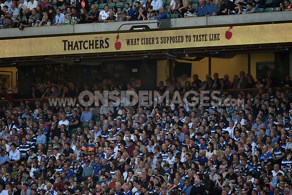 A general view of Thatchers branding on the middle tier LED boards. The Clash, Aviva Premiership match, between Bath Rugby and Leicester Tigers on April 8, 2017 at Twickenham Stadium in London, England. Photo by: Patrick Khachfe / Onside Images