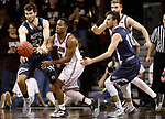 SIOUX FALLS, SD: MARCH 22: Calen Waitsman #23 of Colorado Mines and Al Davis #3 of Bellarmine chase a loose ball during the Men's Division II Basketball Championship Tournament on March 22, 2017 at the Sanford Pentagon in Sioux Falls, SD. (Photo by Dick Carlson/Inertia)
