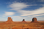 View of West Mitten Butte, East Mitten Butte, and Merrick Butte in Monument Valley.
