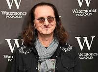 Award-winning musician and songwriter Geddy Lee, best known as the lead vocalist, bassist and keyboardist for the legendary Canadian rock group, Rush, signs his Big Beautiful Book of Bass at Waterstones, Piccadilly, London on June 8th 2019<br /> <br /> Photo by Vivienne Vincent