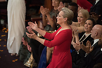 Oscar&reg; nominee Meryl Streep during the live ABC Telecast of the 90th Oscars&reg; at the Dolby&reg; Theatre in Hollywood, CA on Sunday, March 4, 2018.<br /> *Editorial Use Only*<br /> CAP/PLF/AMPAS<br /> Supplied by Capital Pictures