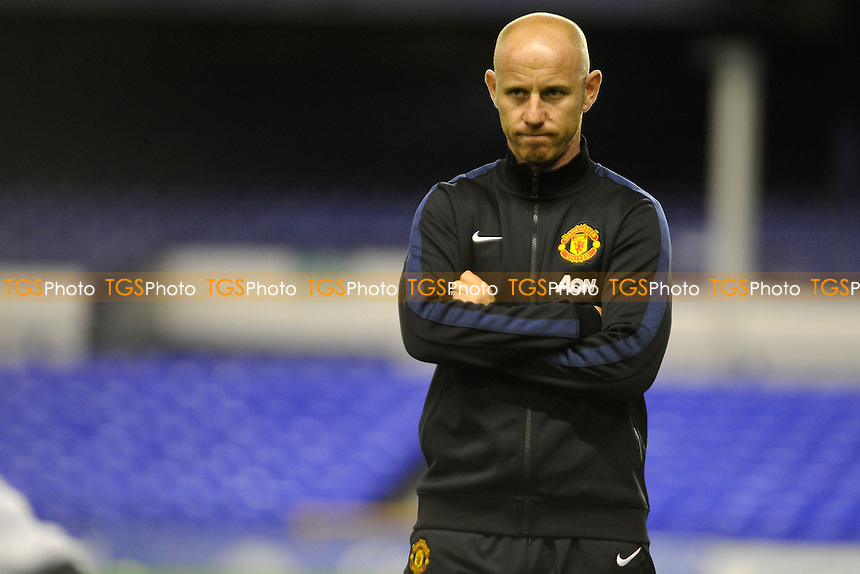 Former United player Nicky Butt watches on during the warmup - Everton Under-21 vs Manchester United Under-21 - Barclays Under-21 Premier League Football at Goodison Park, Liverpool - 21/10/13 - MANDATORY CREDIT: Greig Bertram/TGSPHOTO - Self billing applies where appropriate - 0845 094 6026 - contact@tgsphoto.co.uk - NO UNPAID USE