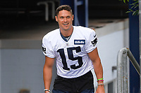July 26, 2018: New England Patriots wide receiver Chris Hogan (15) heads to practice at the New England Patriots training camp held on the practice fields at Gillette Stadium, in Foxborough, Massachusetts. Eric Canha/CSM