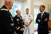"United States President Barack Obama talks with, from left, General Ray Odierno, General Martin Dempsey, and Admiral James ""Sandy"" Winnefeld in the Oval Office, May 29, 2011. The President later nominated General Dempsey to be the Chairman of the Joint Chiefs, Admiral Winnefeld to be Vice Chairman of the Joint Chiefs, and General Odierno to be Army Chief of Staff. ..This official White House photograph is being made available only for publication by news organizations and/or for personal use printing by the subject(s) of the photograph. The photograph may not be manipulated in any way and may not be used in commercial or political materials, advertisements, emails, products, promotions that in any way suggests approval or endorsement of the President, the First Family, or the White House. .Mandatory Credit: Pete Souza - White House via CNP"