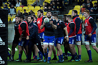 The France team warms up before the Steinlager Series international rugby match between the New Zealand All Blacks and France at Westpac Stadium in Wellington, New Zealand on Saturday, 16 June 2018. Photo: Dave Lintott / lintottphoto.co.nz