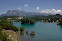 Lake Mediano, against the background of the Pyranees mountains, Ainsa district, Arogon, Pyranees, Spain,