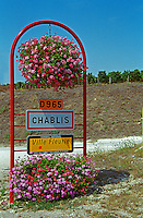Chablis road sign: Chablis, ville fleurie, on the D965 road, Bourgogne