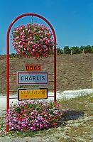 Chablis road sign: Chablis, ville fleurie, on the D965 road, Bourgogne