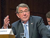 """United States Secretary Of Defense Ashton B. Carter gives testimony before the US Senate Committee on Armed Services during the hearing on """"Counter-ISIL (Islamic State of Iraq and the Levant) Operations and Middle East Strategy"""" on Capitol Hill in Washington, DC on Thursday, April 28, 2016.<br /> Credit: Ron Sachs / CNP"""