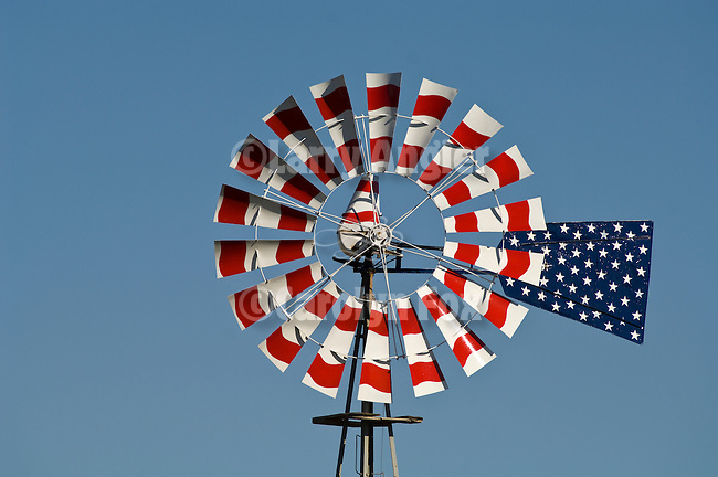 Red, white, blue painted Aermotor windmill