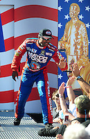 Sept. 6, 2010; Clermont, IN, USA; NHRA top fuel dragster driver Antron Brown during driver introductions prior to the U.S. Nationals at O'Reilly Raceway Park at Indianapolis. Mandatory Credit: Mark J. Rebilas-