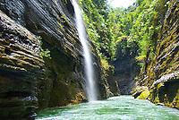 Along the Upper Navua River, Fiji         Upper Navua Conservation Area         River Canyon with rainforest and waterfalls      Highlands of Viti Levu Island