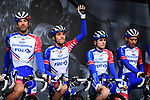 Thibaut Pinot (FRA) and Groupama-FDJ on stage at the team presentation before Stage 1 of the Criterium du Dauphine 2019, running 142km from Aurillac to Jussac, France. 9th June 2019<br /> Picture: ASO/Alex Broadway | Cyclefile<br /> All photos usage must carry mandatory copyright credit (© Cyclefile | ASO/Alex Broadway)