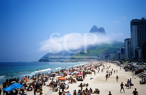 Rio de Janeiro, Brazil. Ipanema and Leblon beaches with the Dois Irmaos (Two Brothers) mountain.
