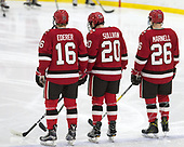 Michael Ederer (SLU - 16), Joe Sullivan (SLU - 20), Mike Marnell (SLU - 26) - The Harvard University Crimson defeated the St. Lawrence University Saints 6-3 (EN) to clinch the ECAC playoffs first seed and a share in the regular season championship on senior night, Saturday, February 25, 2017, at Bright-Landry Hockey Center in Boston, Massachusetts.