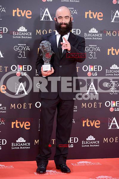 Carlos Diez Diez pose to the media with the Goya award at Madrid Marriott Auditorium Hotel in Madrid, Spain. February 04, 2017. (ALTERPHOTOS/BorjaB.Hojas) /NORTEPHOTO.COM
