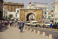 Tunis, Tunisia.  Bab el-Bahr, Bab Porte de France, entrance to the medina.   Built 1848.
