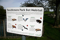 Sign for native bats in Southmere Park, Thamesmead, southeast London, UK