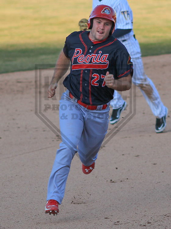 APPLETON - April 2015: outfielder Nick Thompson (27) of the Peoria Chiefs during a game against the Wisconsin Timber Rattlers on April 12th, 2015 at Fox Cities Stadium in Appleton, Wisconsin. (Photo Credit: Brad Krause)