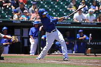 Iowa Cubs Juan Perez (5) swings during the Pacific Coast League game against the Memphis Redbirds at Principal Park on June 7, 2016 in Des Moines, Iowa.  Iowa won 6-5.  (Dennis Hubbard/Four Seam Images)