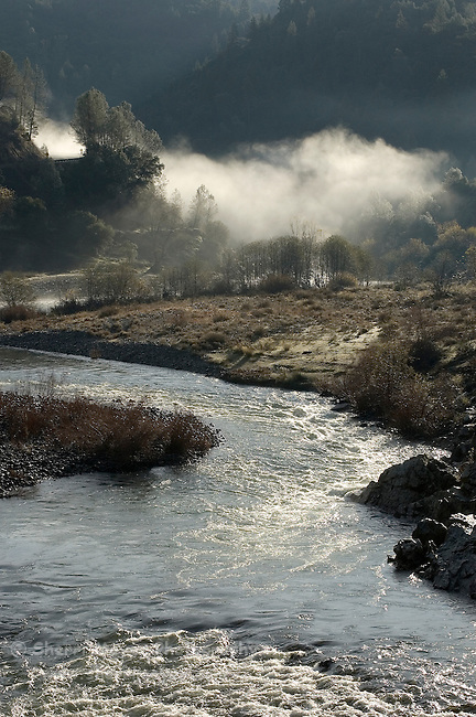 Early morning fog over the confluence of the north and middle forks of the American River