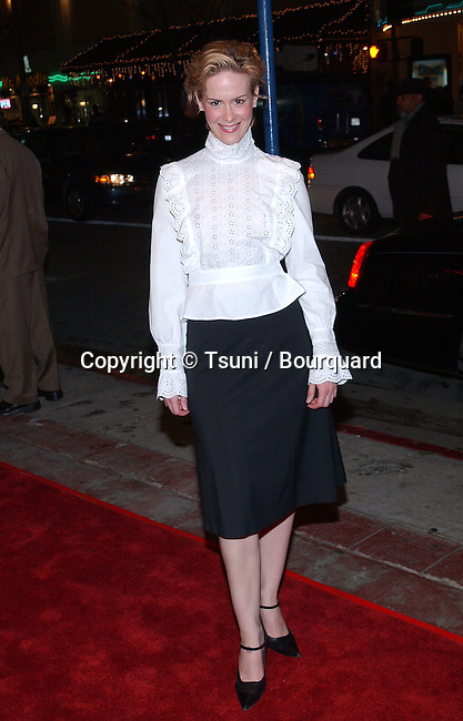 Sarah Polson posing at the premiere of High Crimes at the Mann Village Theatre in Los Angeles. April 3, 2002.